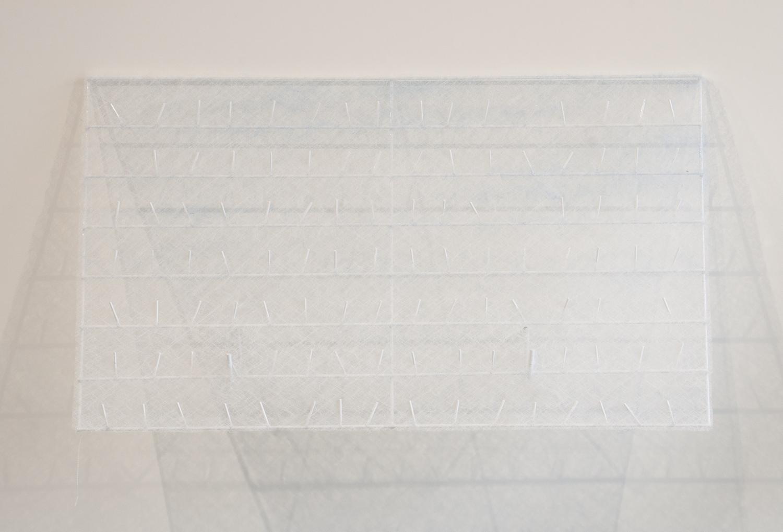 Dissipative Durables  , 2012. Coated metal display rack, spun fiberglass, powder coated cold rolled steel