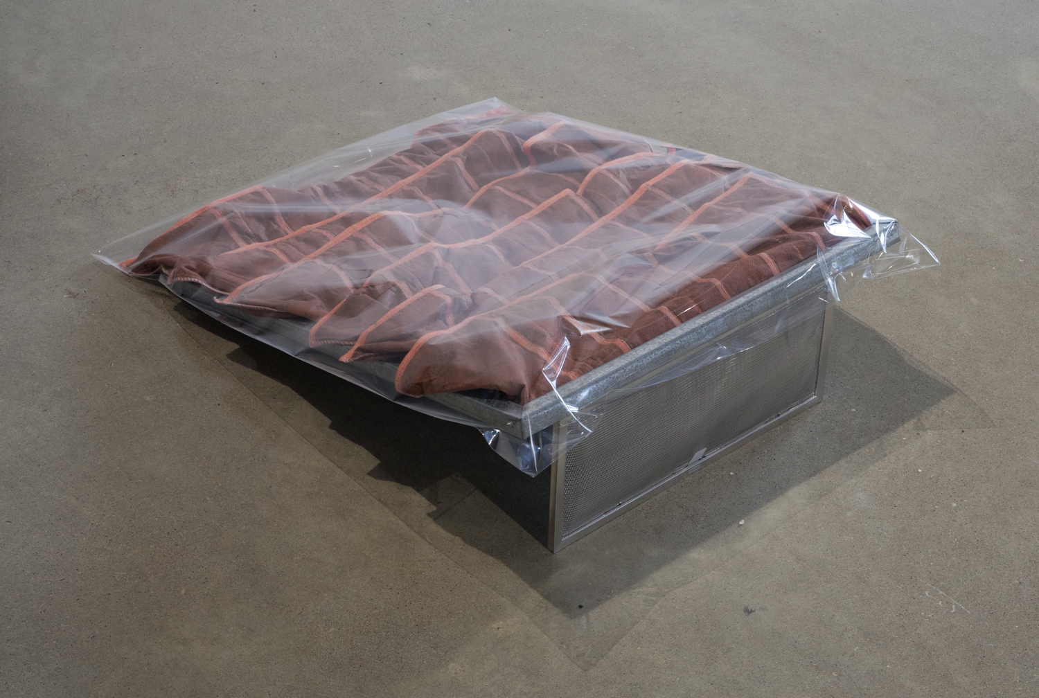 Clear Indications of Deoranging  , 2014. Industrial pocket filter, cellophane bag, microwave filter