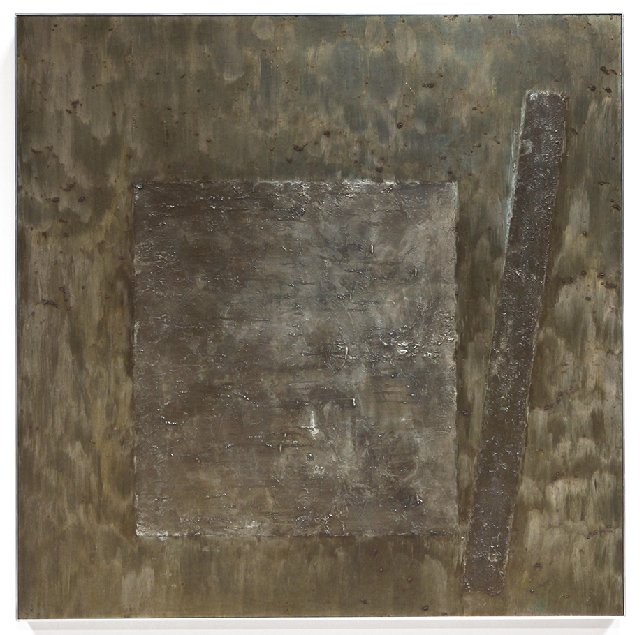 "Press No. 3 , June-July 2014, copper, tin, pine, plywood aluminum, 36 1/8""h x 36 3/16""w x 2""d  AVAILABLE"