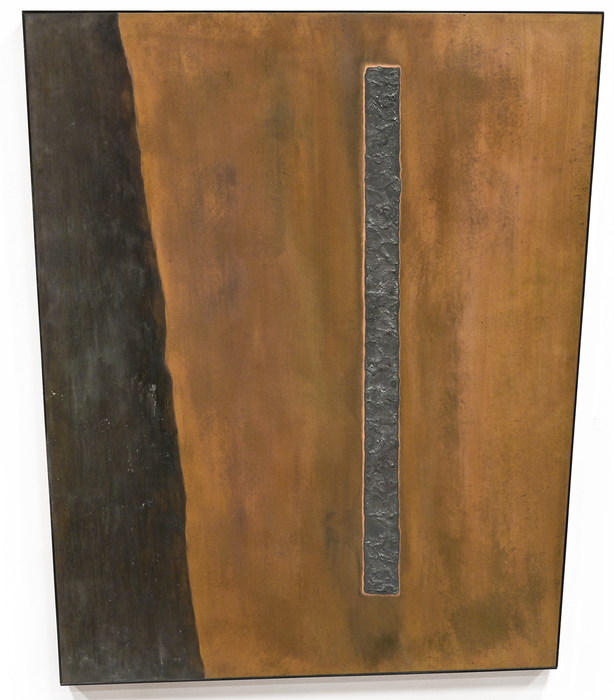 "Linear Composition No. 11 ,  Feb-March 2015, copper, tin, pine, plywood aluminum, 42 1/4""h x36 1/8""w x 2""d  AVAILABLE"