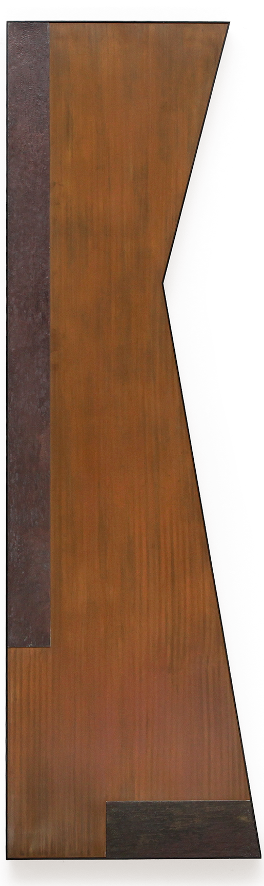 "Zig No. 4 , Dec. 2015, copper, tin, pine, plywood aluminum, 60 1/4""h x 18 1/4""w x 2""d  AVAILABLE"
