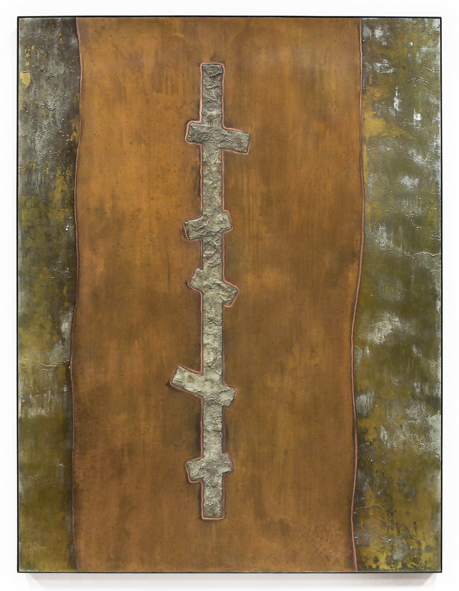 "Crosscurrent No. 4 , Feb-March, 2015, copper, tin, pine, plywood aluminum, 48 1/8""h x 36 3/16""w x 2""d"