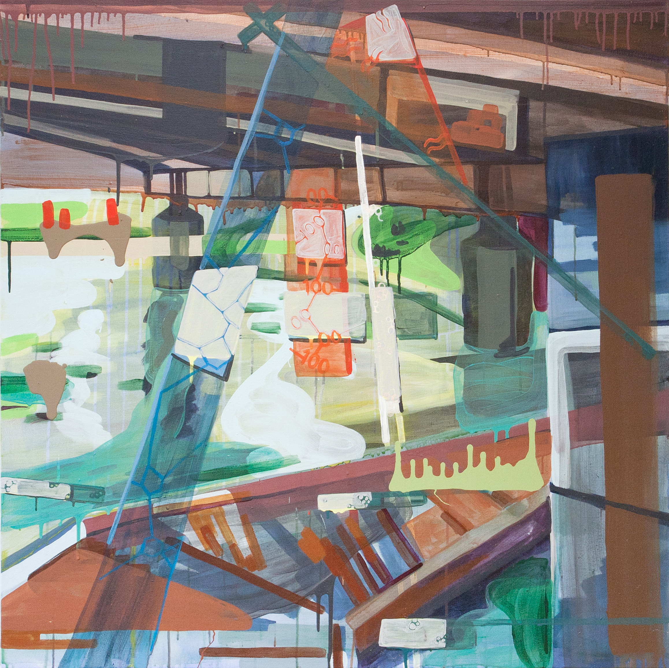Shared Use  , 2015, acrylic on canvas, 44 x 44 inches.