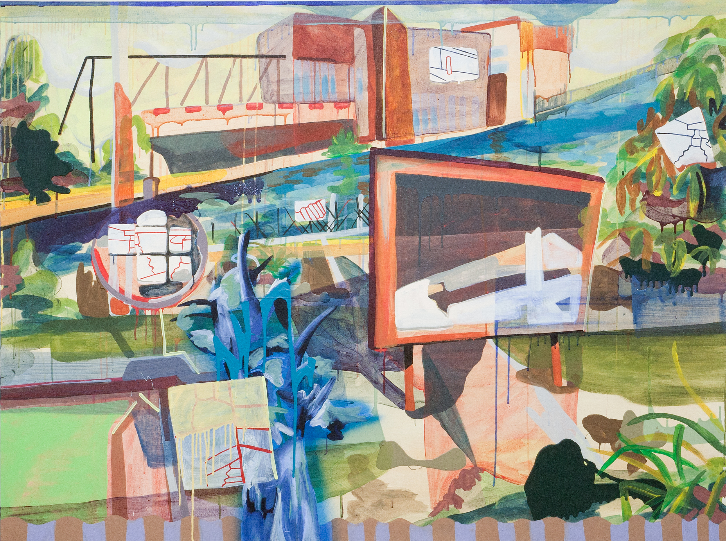 Factory-Direct Lakeshore  , 2015, acrylic on canvas, 54 x 72 inches.