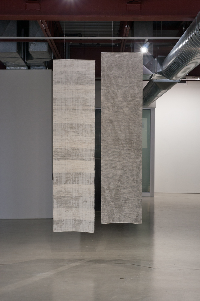 Left:  Noise 1208 . Tussah silk, hemp, synthetic dye, sumi. 245 x 52 cm, 2012. Right:  Noise 1207. T ussah silk, hemp, synthetic dye, sumi. 245 x 52 cm, 2012.