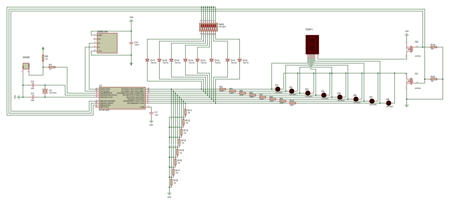 The schematic created in Proteus ISIS.