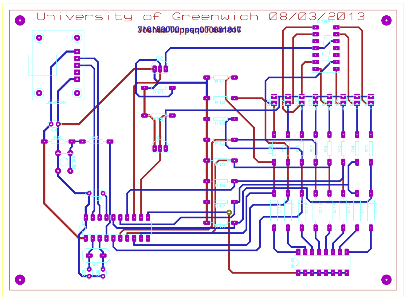 The board as designed in Proteus ARES.