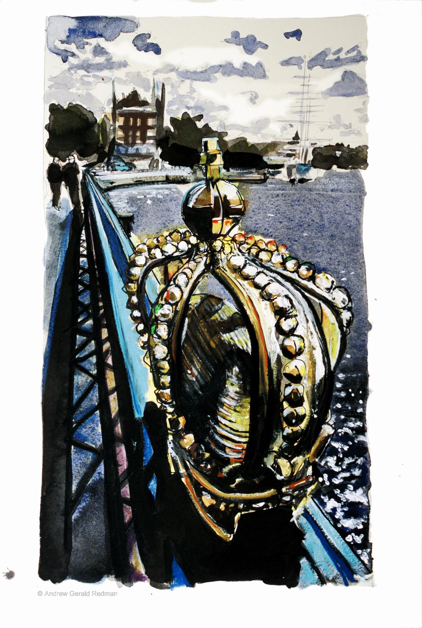 Guilded crown Skeppsholmsbron Stockholm