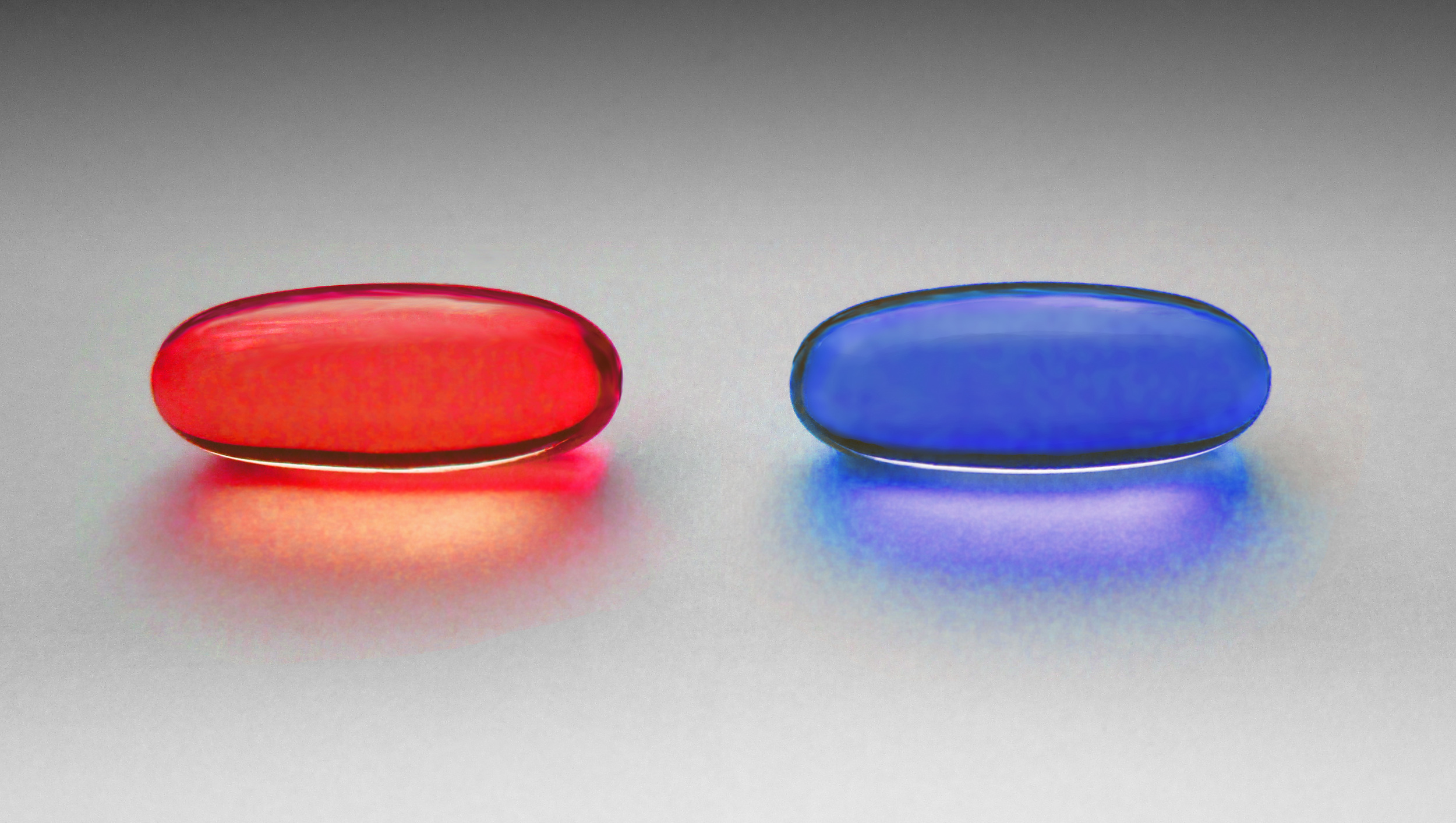 Image inspired from the film Matrix , choose the red pill or the blue pill.