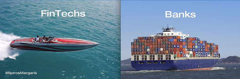 Speedboat and container ship