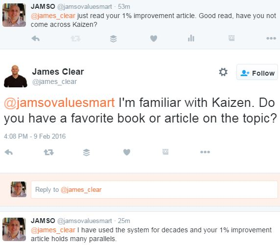 Twitter Exchange with James Clear and JAMSO