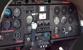 A basic small airplane cockpit