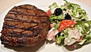 Steak or salad.