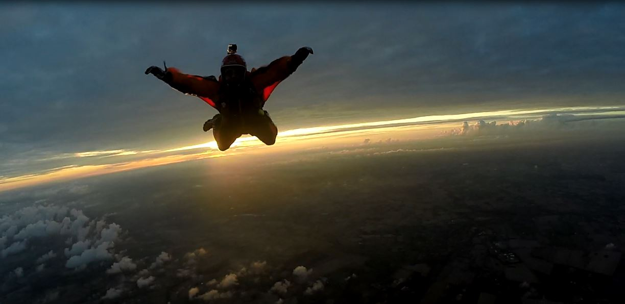 Founder of JAMSO - James Doyle skydiving over Denmark