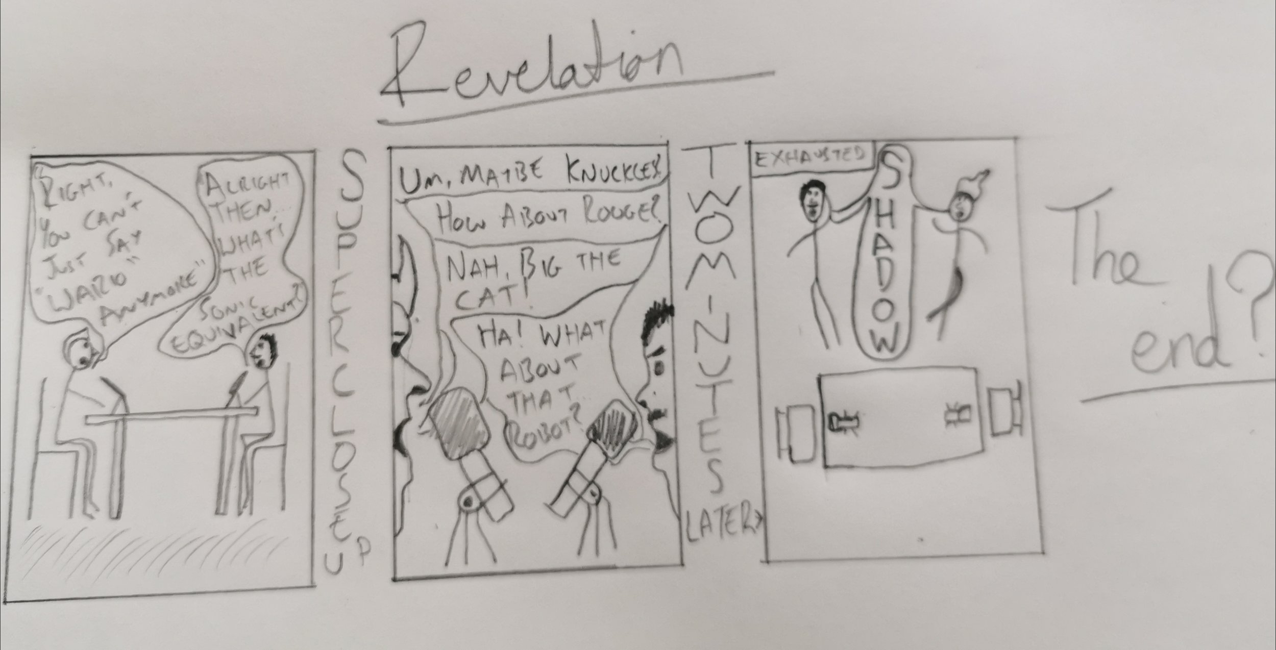 As a 'Special Treat' please enjoy this comic, drawn by Scott, of a moment we shared in the recording of our latest bonus podcast…