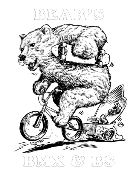 If you can Print this image you can also colour it!! If not stop in at Bears to Pick up your entry to win some very cool stuff!! This rendering was drawn up by none other than the very talented andCanada's own Jonathan Bergeron http://www.johnnycrap.com/ So stoked to have a peice from Jon and looking forward to the coloured versions from all our favourite people!!  Prizes will be from the shop and will be awarded for 1st, 2nd, and 3rd place based on Age categories listed below..  Baby Cubs - Ages 2-5 Budding Cubs - Ages 6-9 Adolescent Cubs - Ages 10-13 Teenage Cubs - Ages 14-17 Bears - 18 and up  Contest Entries complete with Name, Age, Parent contact #, shirt size, and shoe size must be submitted back in person to Bear's before May 14  The Winners will be announced live during Bear's B-Day Bash May 15th 2015 in support of Mental Health Awareness and the St. Paul BMX & Skate Park Initiative