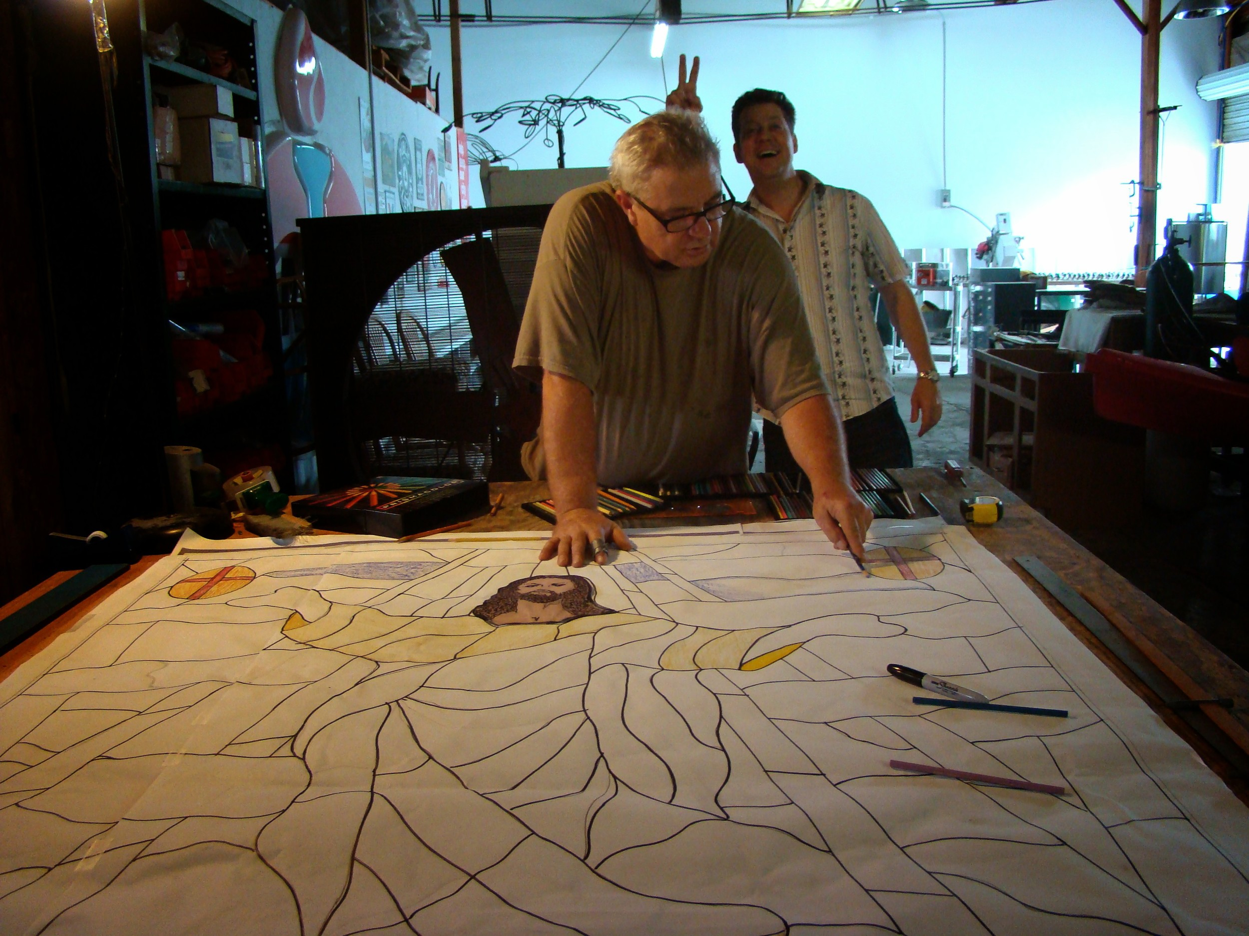 Ed & Dennis in stained glass studio.JPG