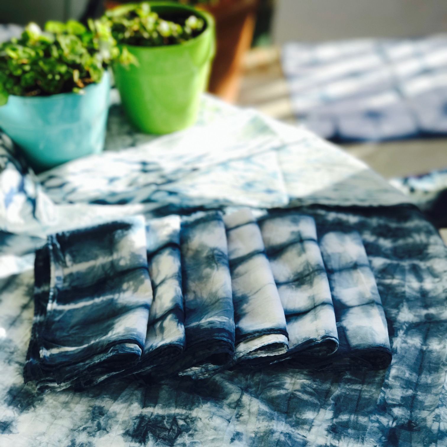 Natural Indigo Dyed Cotton & Silk