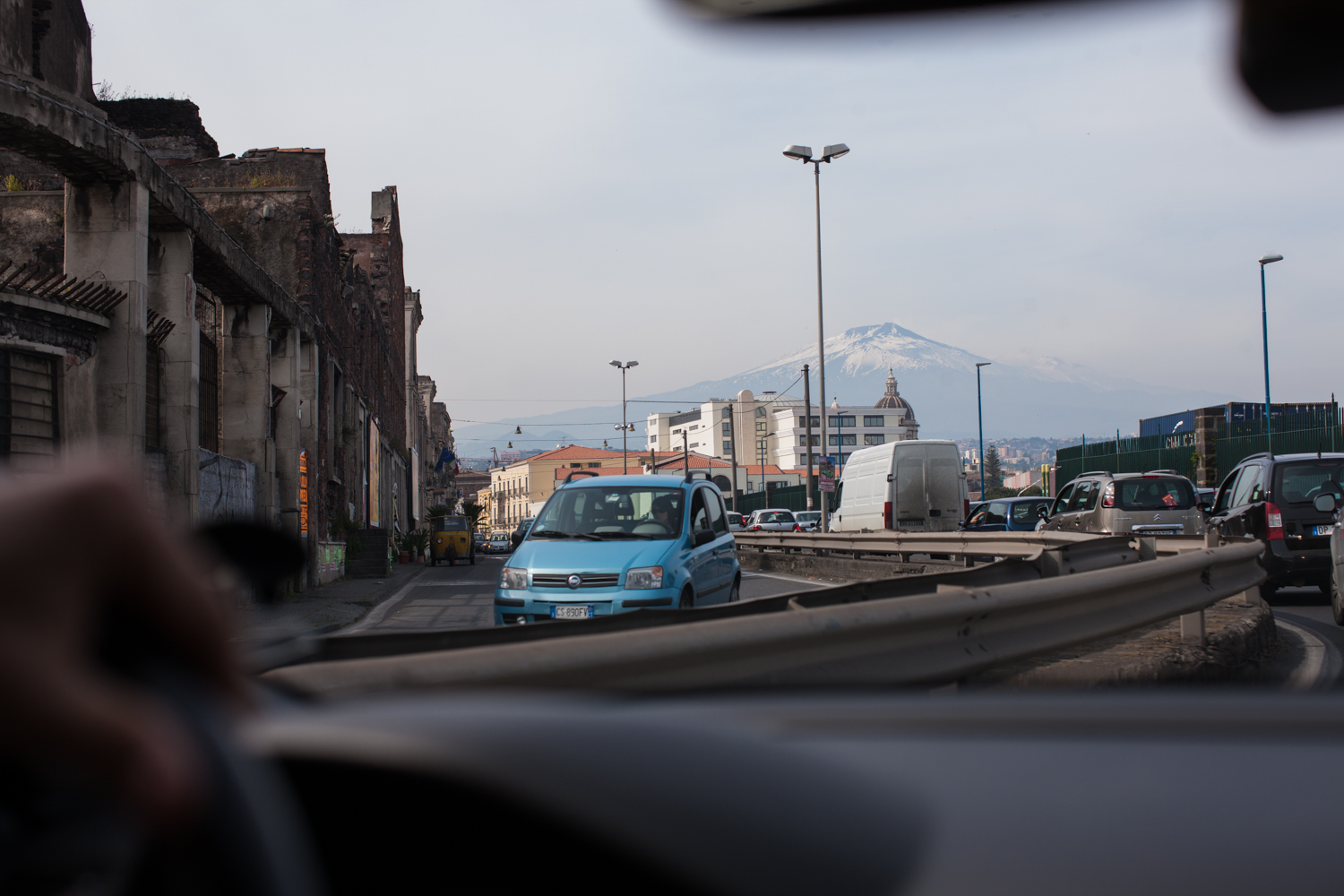 Mount Etna and roadway