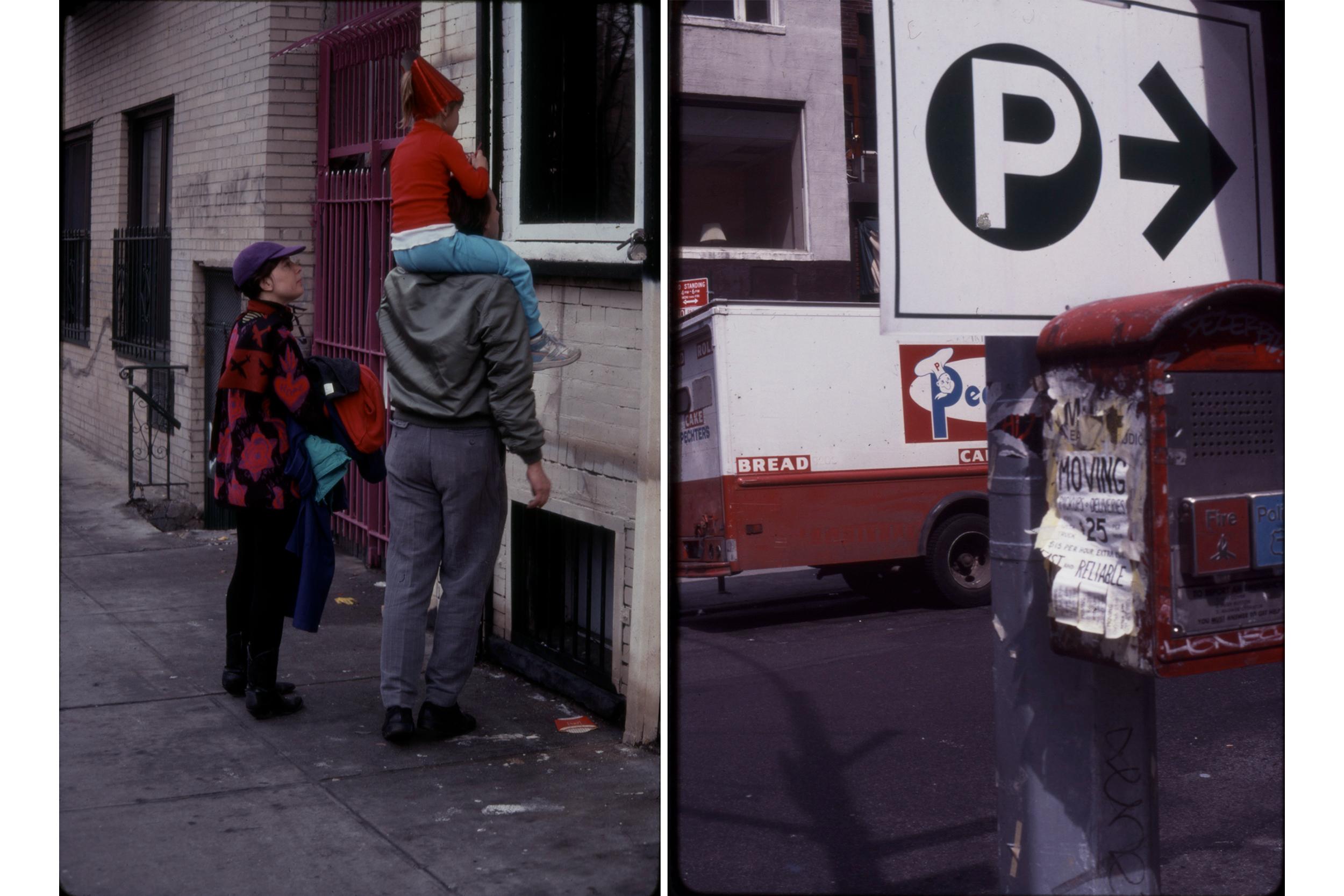 Party Hat Window Peek, March 1990; Bread Truck Parking Sign, c 1990