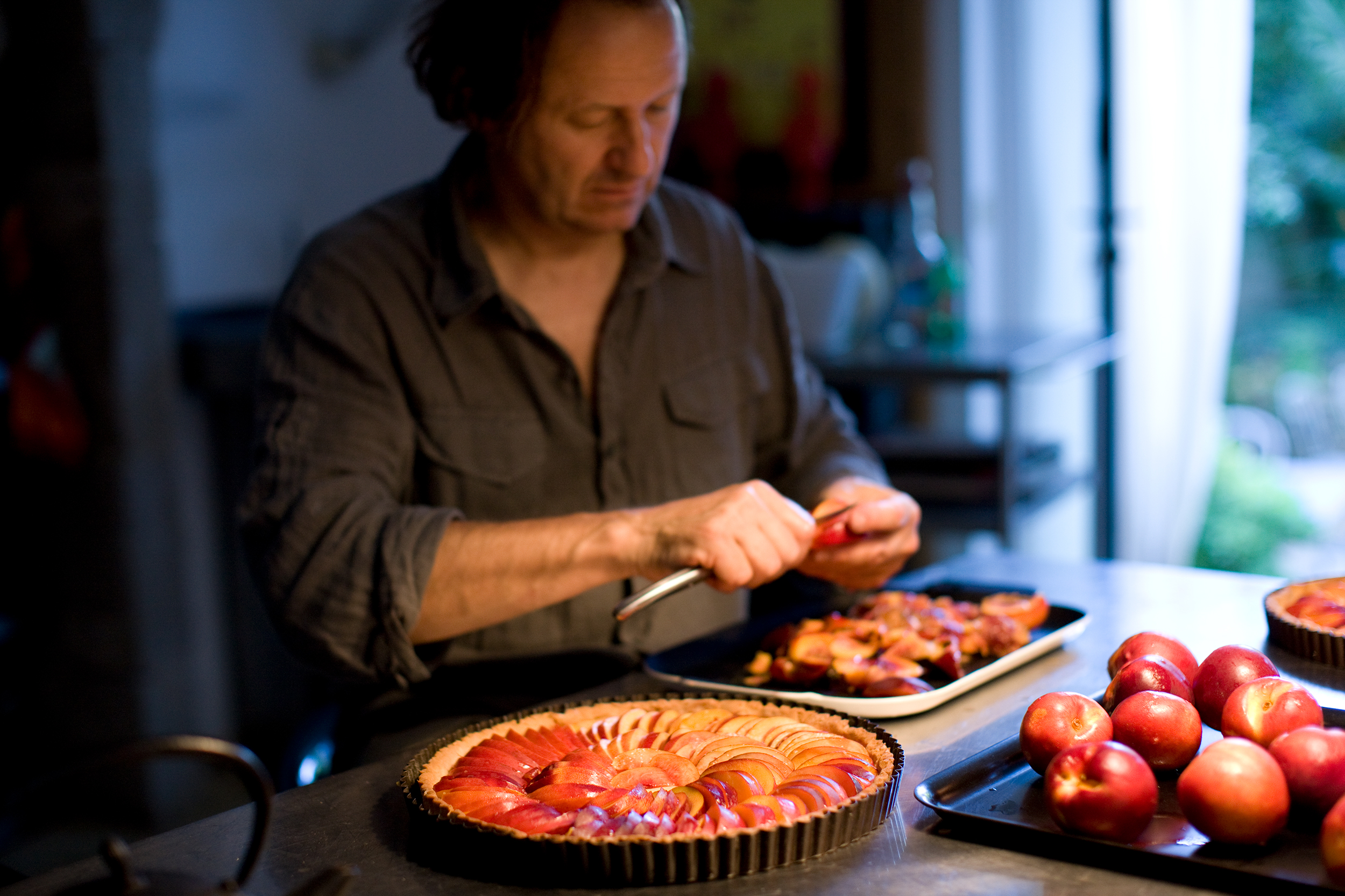Man Making Nectarine Tarts