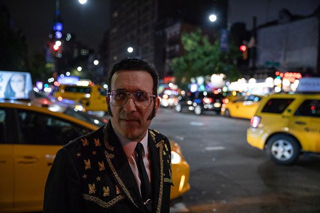 Jack - 2018, 14th Street. After his monthly show Otto's Shrunken Head (see video, next post). * * #99snapshots #manhattan #nyc #canon5dmarkiv #documentary #nycpeople #newyorklife #ig_nyc  #people_infinity  #retro #customsuits #elvis #taxis @ottosnyc  #eastvillage #downtownnyc #manhattan #singer #performer #worldsgreatestentertainer #citylife #nightlife #nitelife #nycstreets #musician #pedestrian #crosswalk #streetphotography #citylights #tailoredsuit #nycstyle #night @abc7ny @nyc4ny @cbsnewyork @fox5ny @pix11news