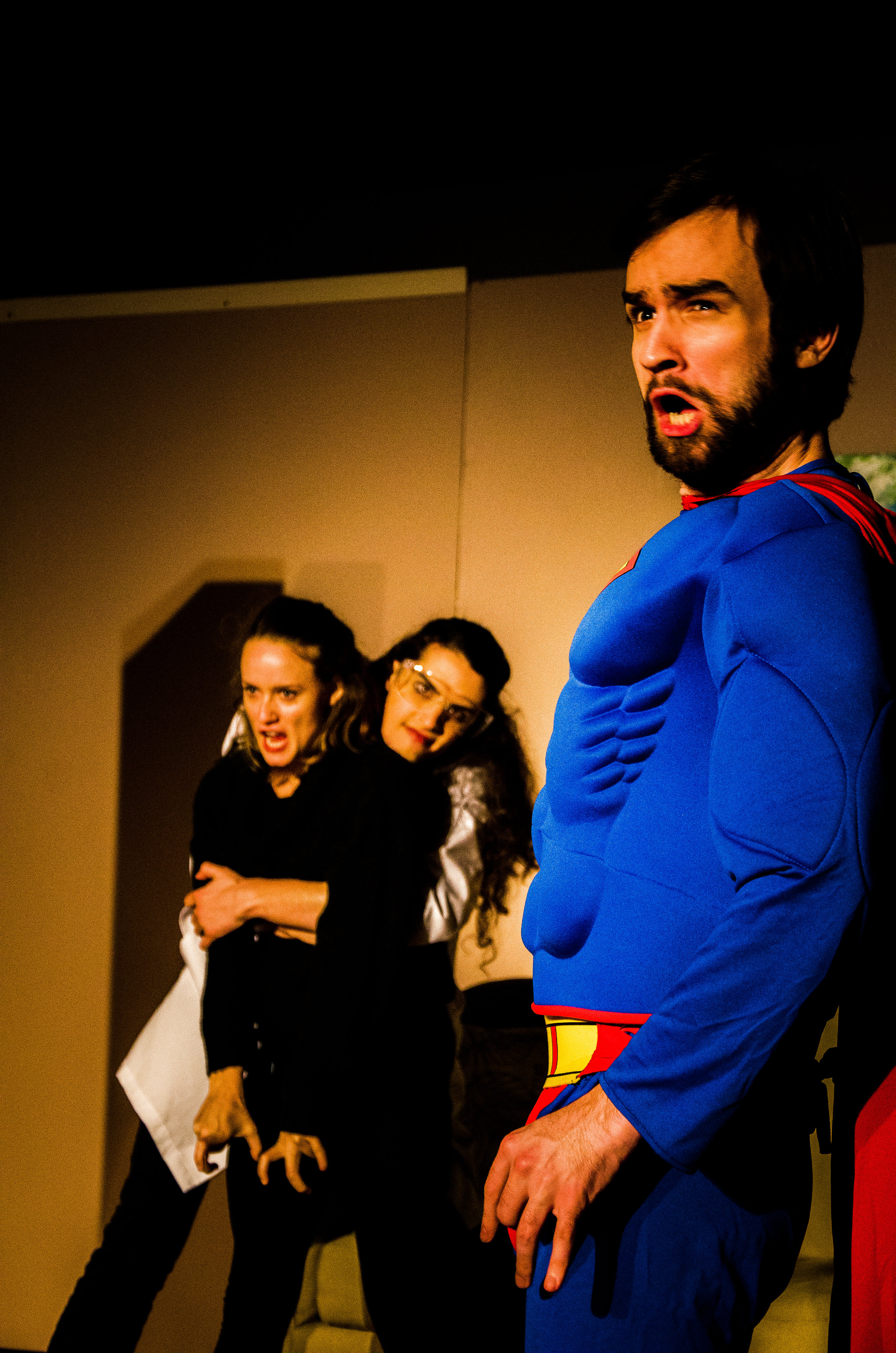 Fred Fletcher-Jackson as Supraman, Martha Robichaud as Shadow, and Erica Burns as Devon  Kevin Stanley Photography
