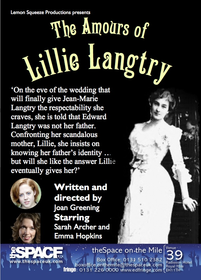 Flyer from Edinburgh Fringe Festival 2017 for The Amours of Lillie Langtry