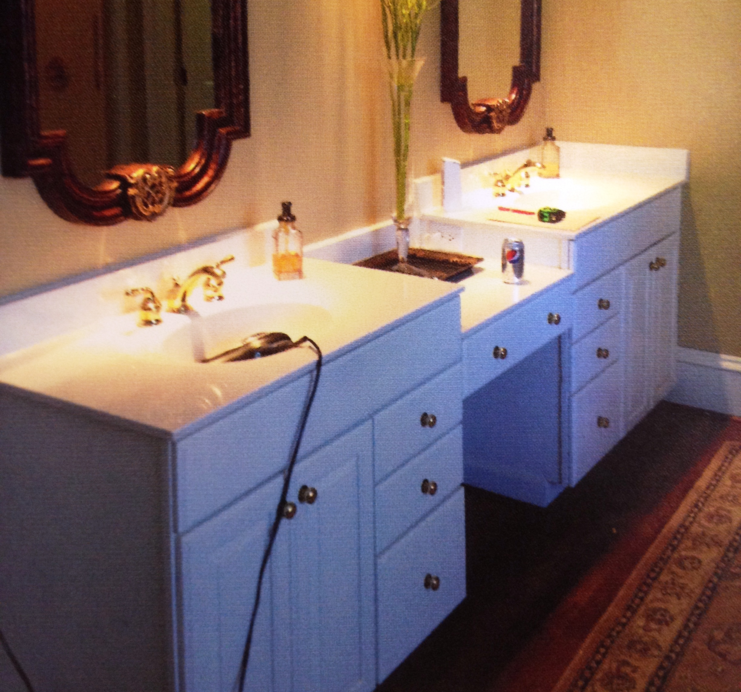 Dated and drab, this is one vanity in need of a facelift.
