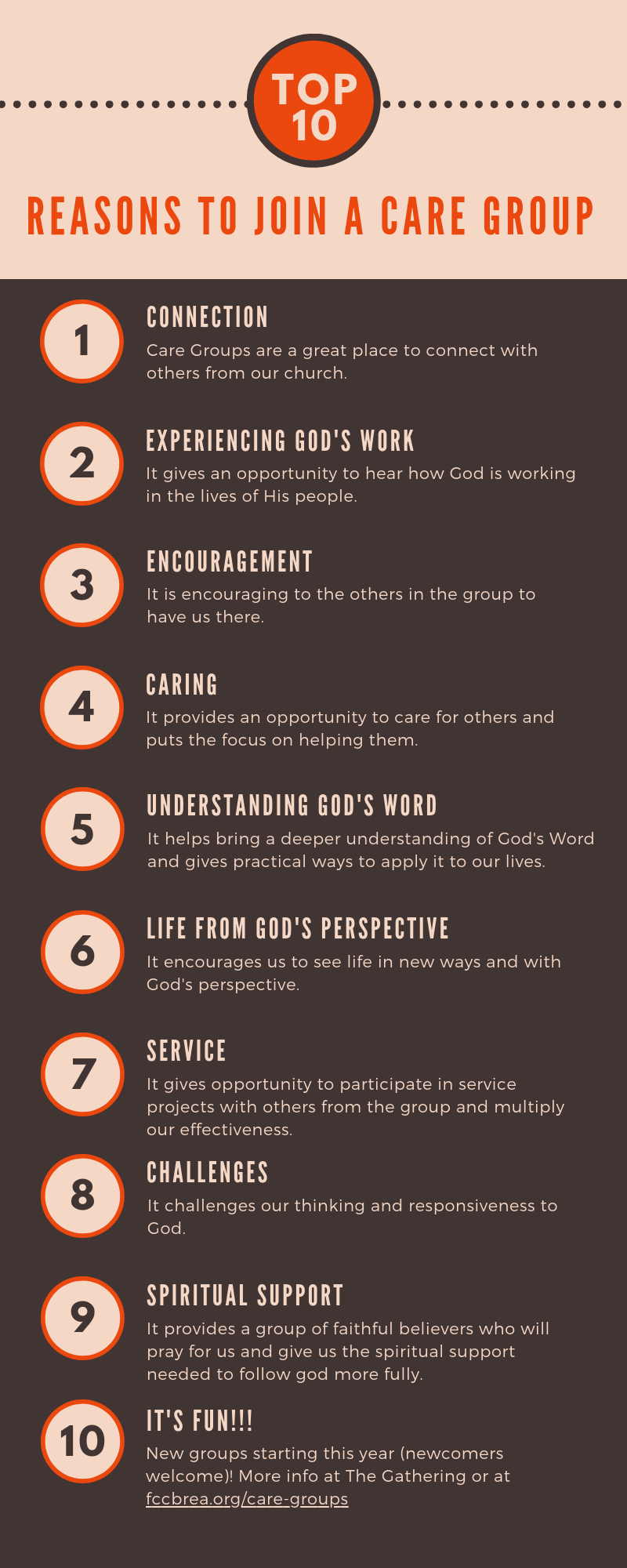 Top 10 Reasons to Join a Care Group — Friends Community Church