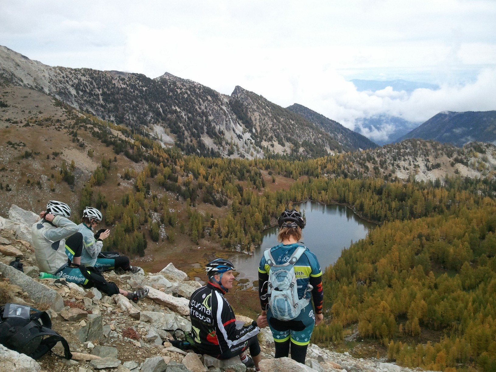 The view of larch trees and alpine lakes at Angels Staircase, a Methow Valley mountain bike ride that climbs above 7000ft.