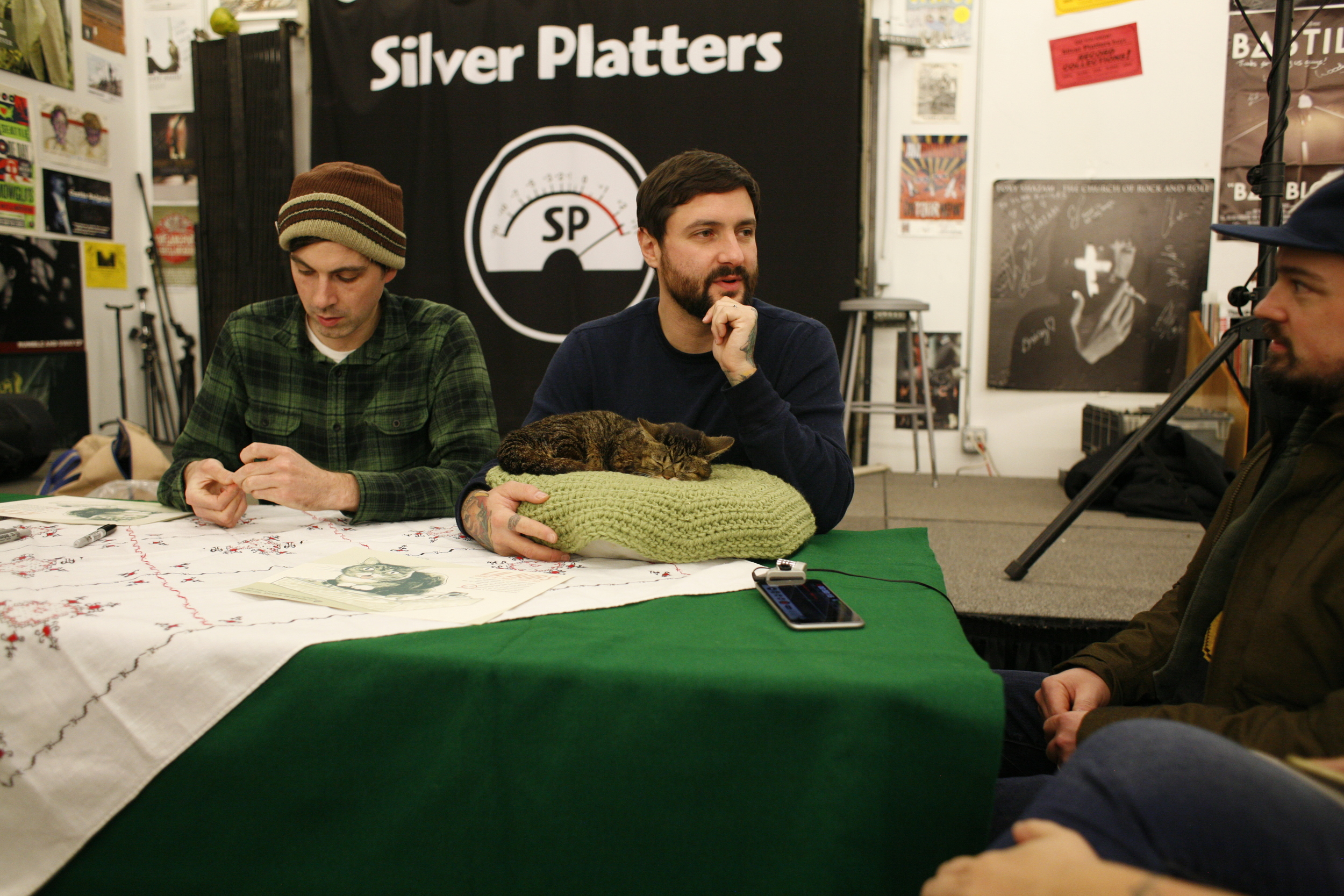 Matt Tobey, Lil Bub, Mike Bridavsky and yours truly, chatting it up at Silver Platters in Seattle, WA.