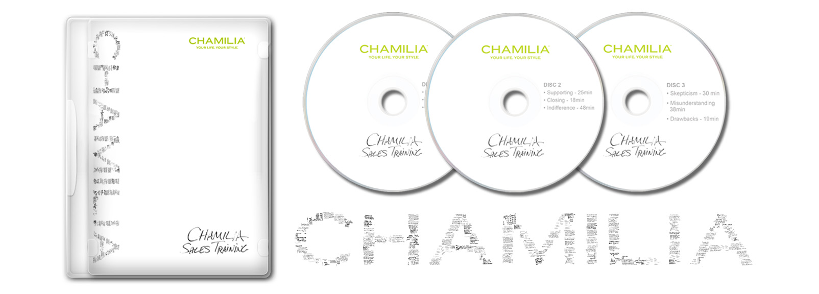 DVD case and DVDs for Chamilia's corporate sales training seminar which we produced. We also designed the DVD Menu. Sales training program Directed by  Cole Koehler .