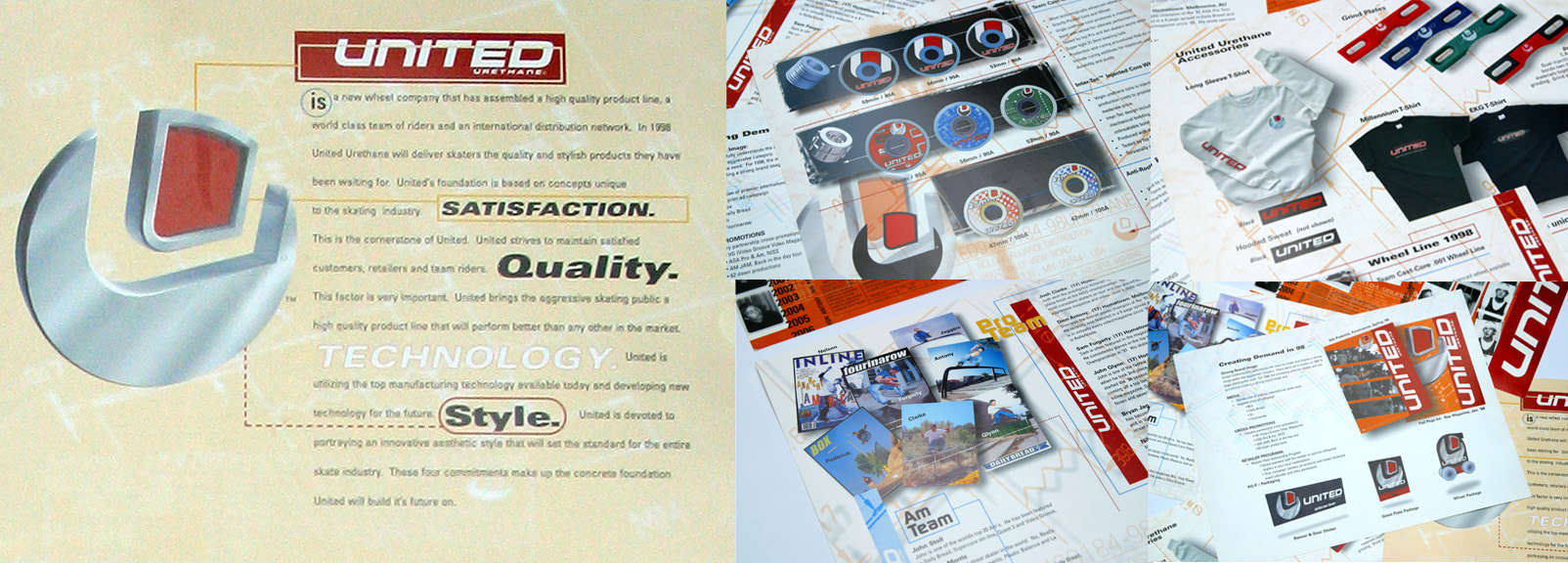 Some layouts from the first product catalog that launched the brand. The bound booklet clearly laid out the Brand Story, how United Urethane was different in product quality and retailer service. It arrived rolled up in a bright red tube with product samples and some goodies. Sales spiked immediately.