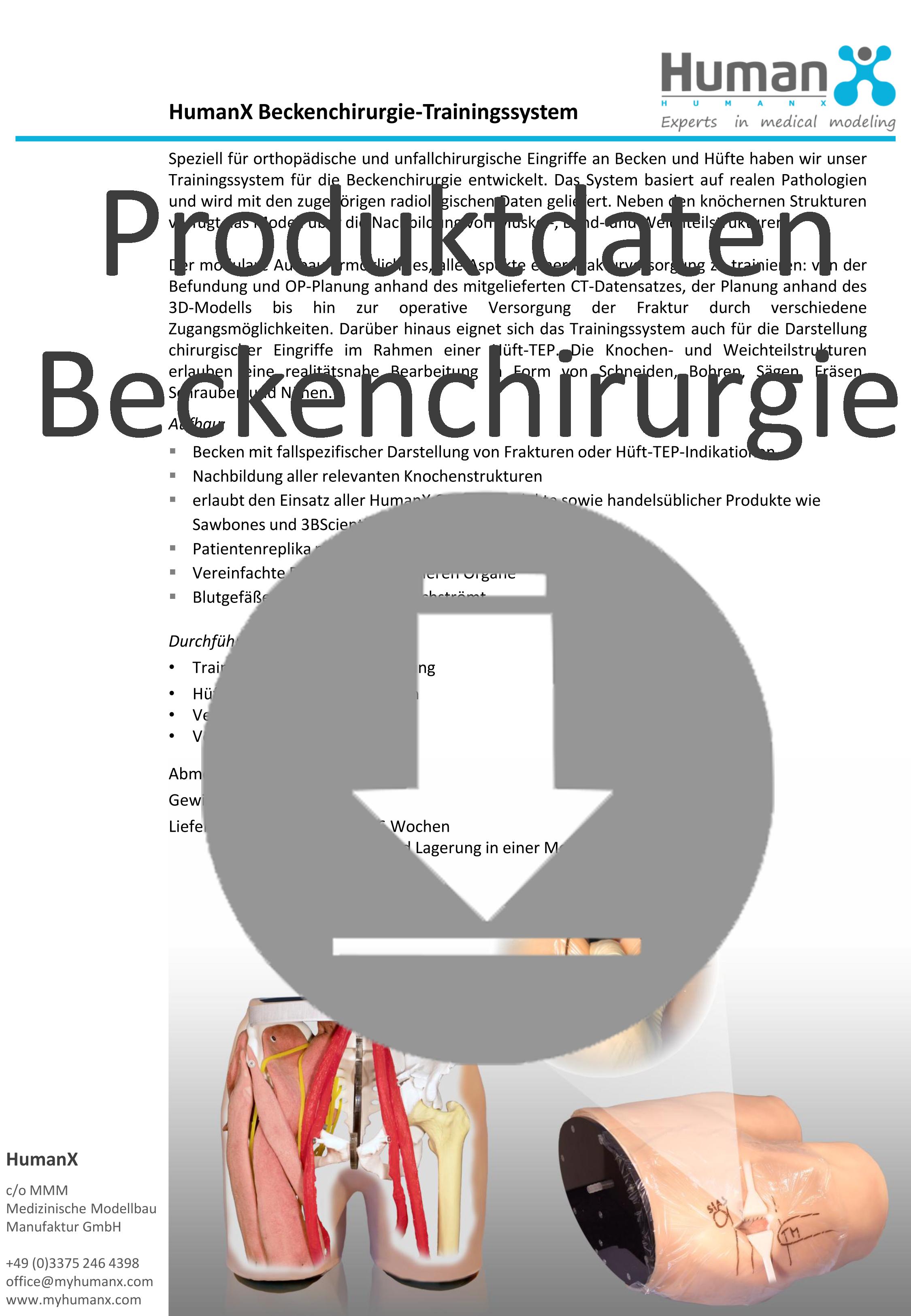 Produktdaten HumanX Beckenchirurgietrainer