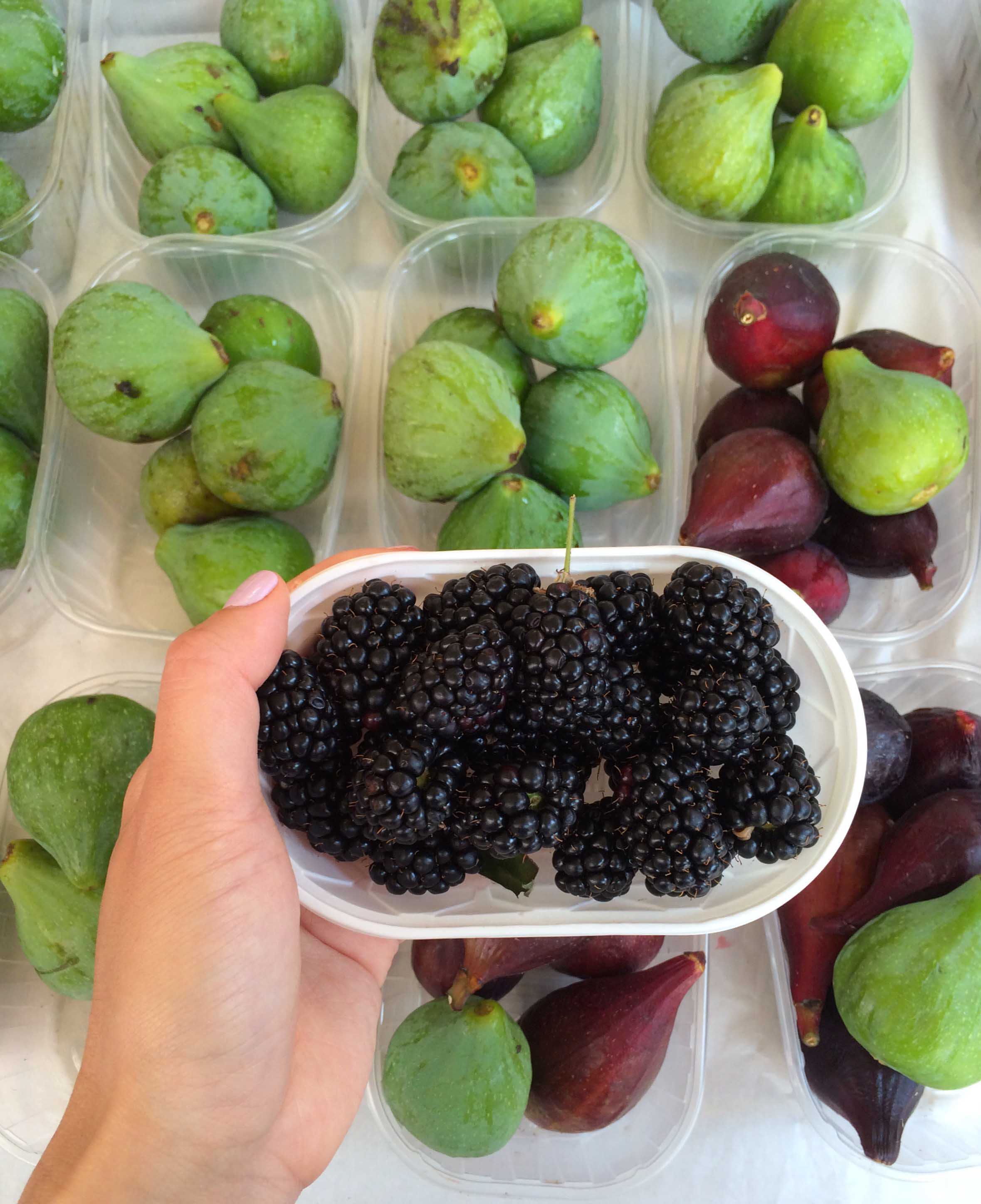 Luscious fruit at the farmer's market. Juicy blackberries and the best figs I've ever tasted.