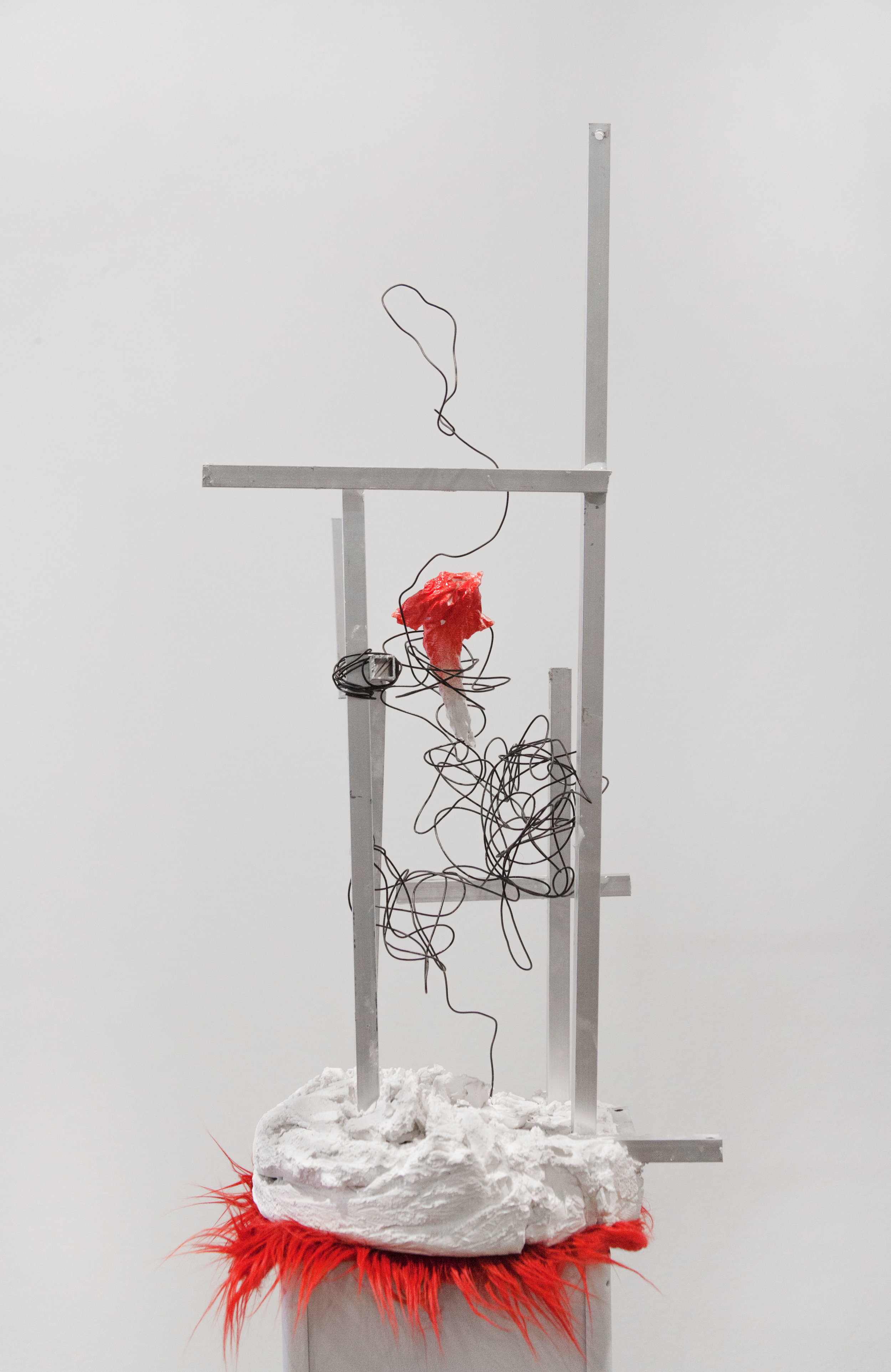 untitled, 2017, metal rods, plaster, synthetic fur & plastic plinth, Gallery 4Culture, Photo by Max Cleary