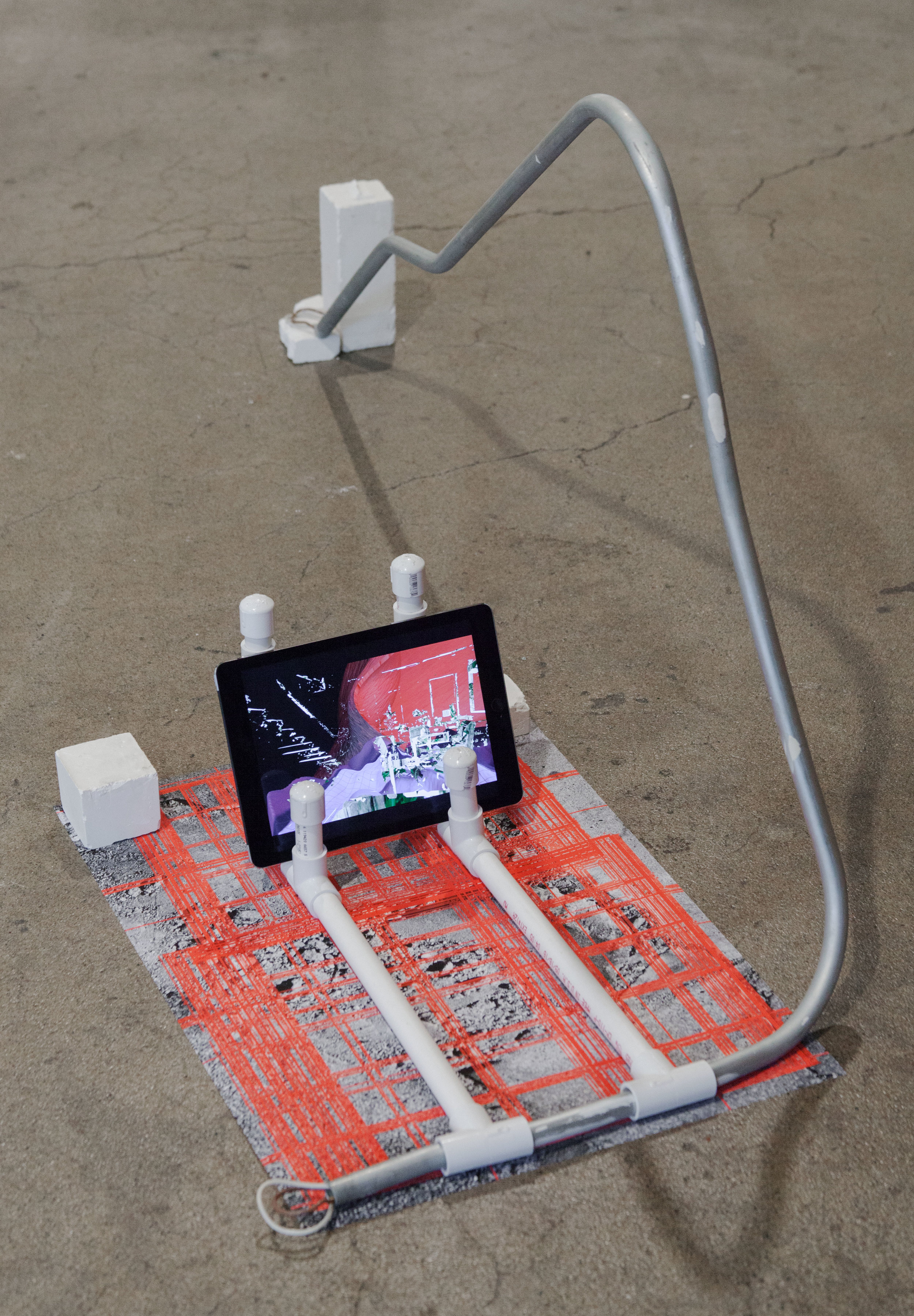 untitled, 2017, video, ipad, metal rod, pvc pipe, archival inkjet print & plaster, Gallery 4Culture, Photo by Max Cleary