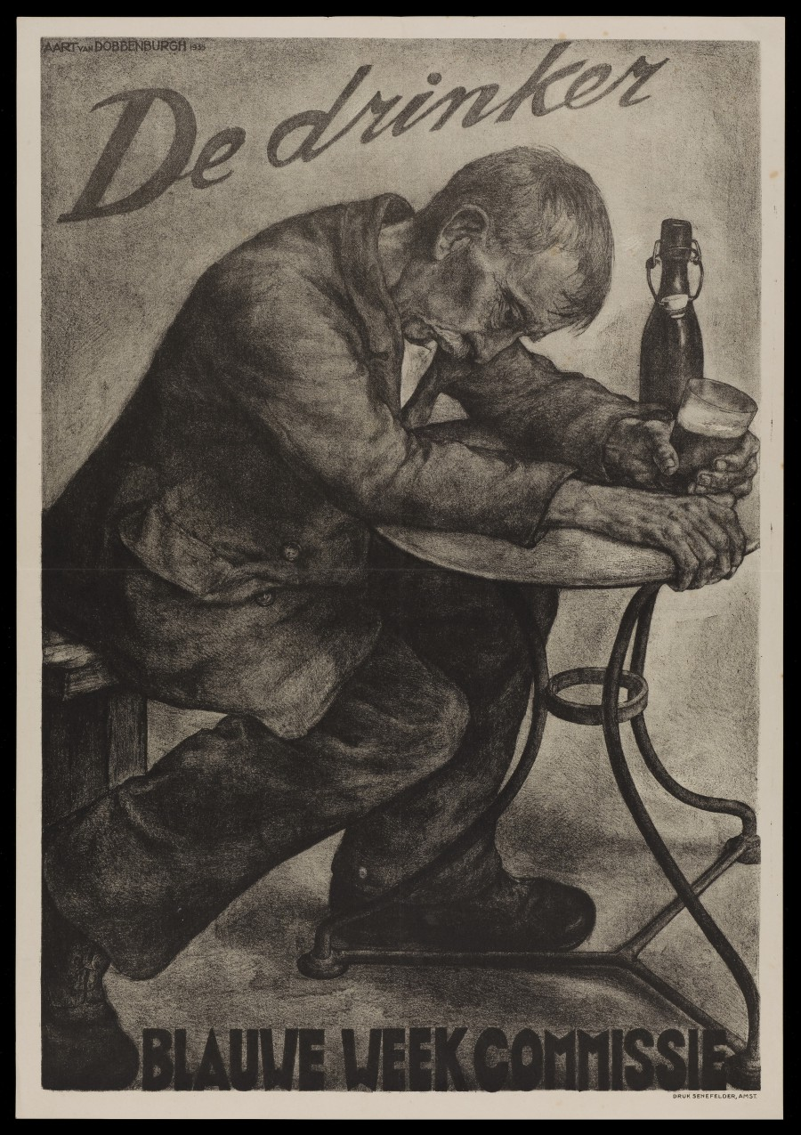 L0048989 An intoxicated man drinking beer; advertising Blauwe Week