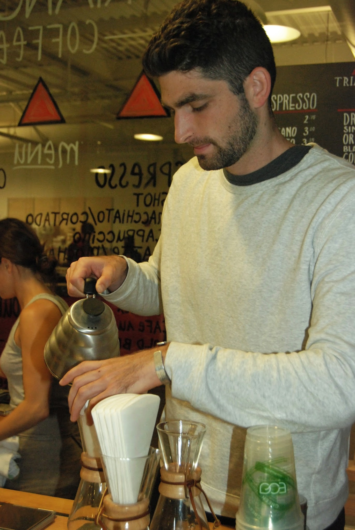 Triangle Coffee co-founder, Ottavio Siani, sharesthe barista shifts with his two other co-founders.