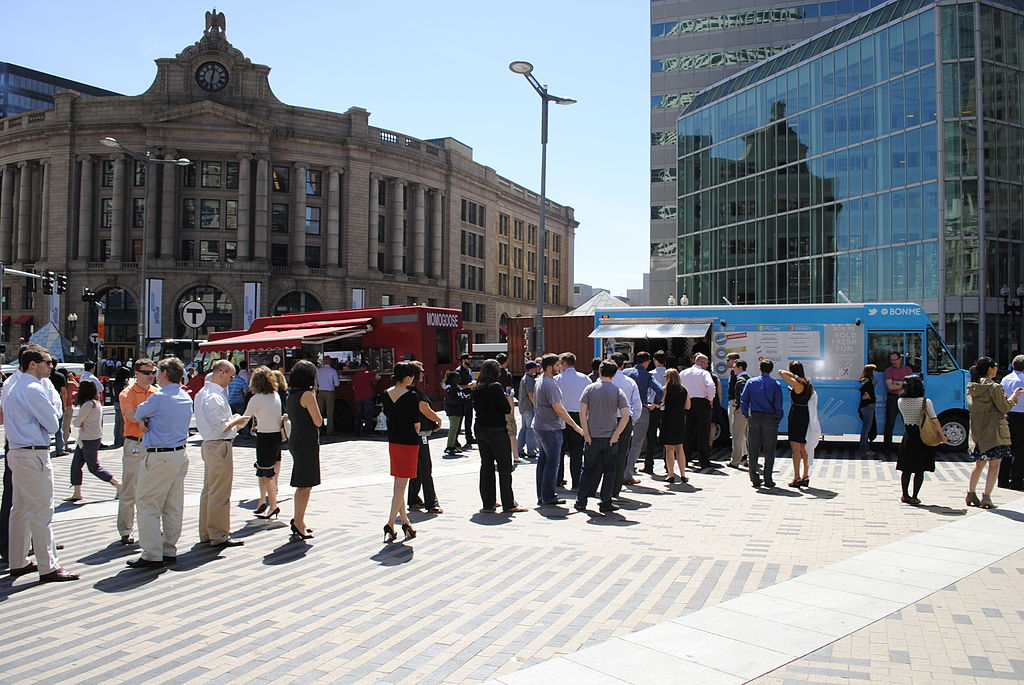 Photo  (cc) of food trucks in Dewey Square, Boston by   Hellogreenway   and published under a Creative Commons license. Some rights reserved.