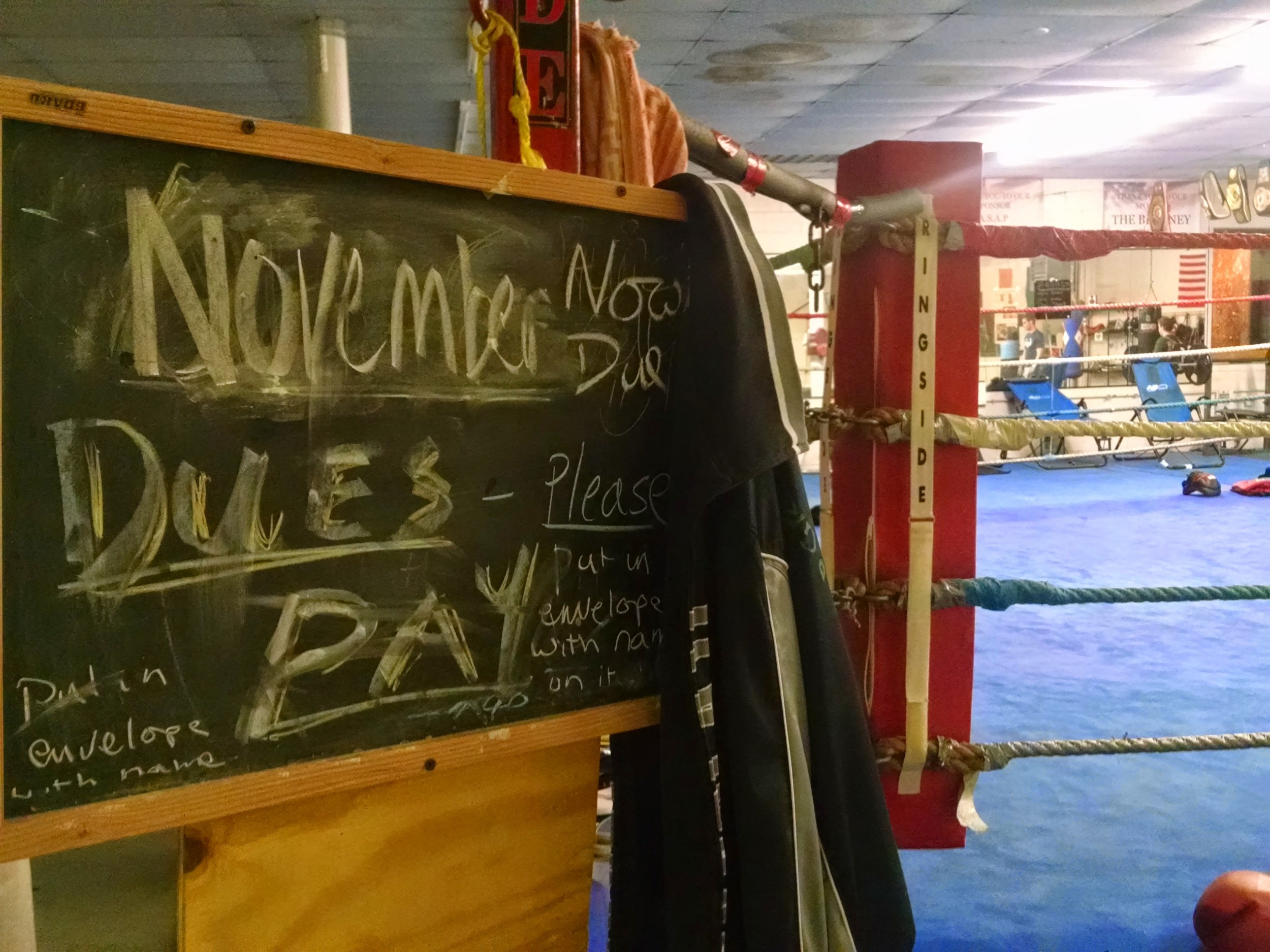 November Dues sign at the Grealish Boxing Club in April.