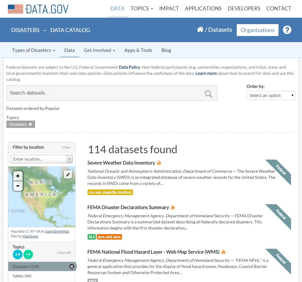 disaster.data.gov screenshot