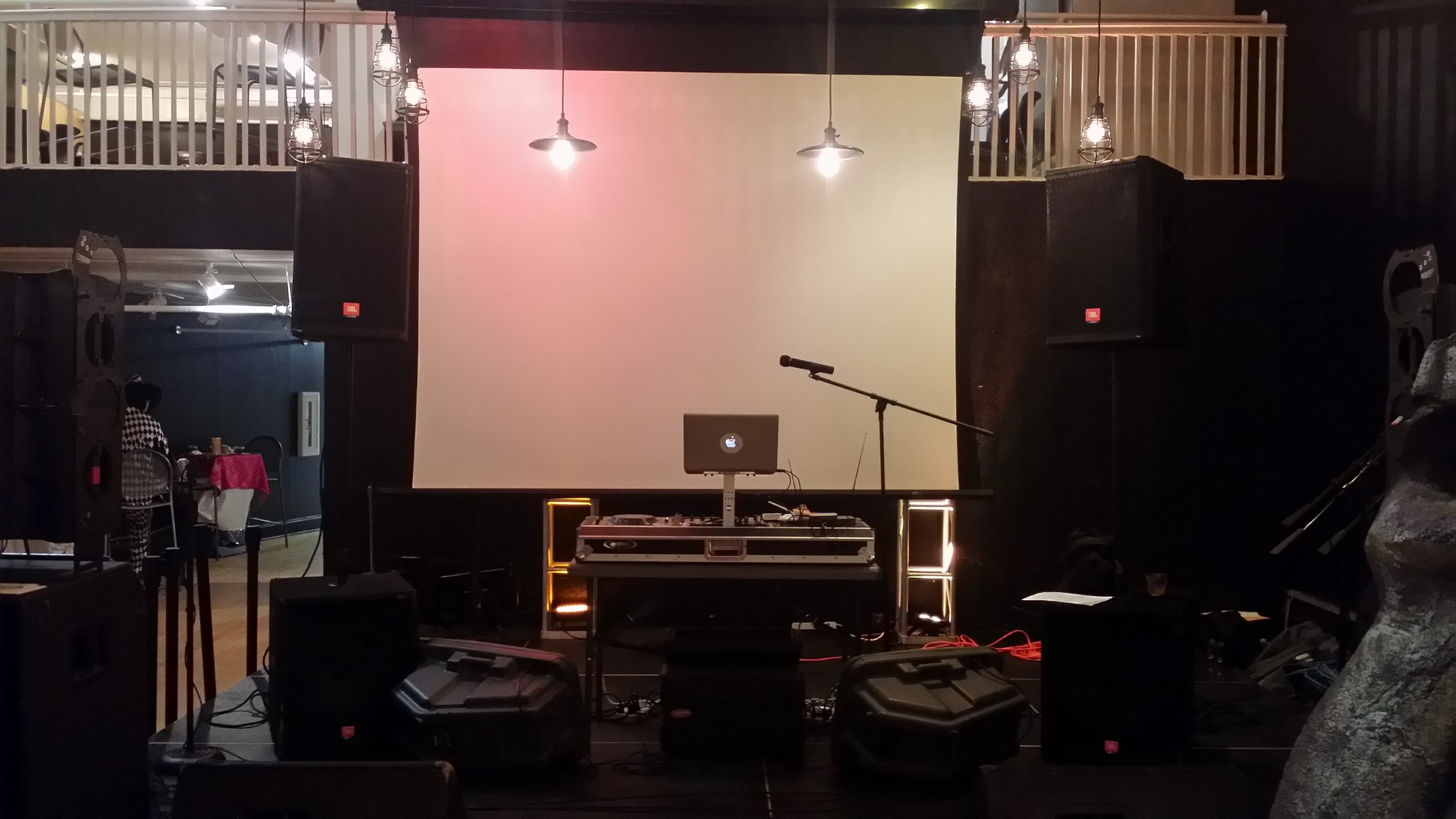 Full DJ Setup! Enough Sound to fill any event!) 4 Speakers plus 2 Monitors , Full DJ Console, Cordless Mic and Projector screen not included.