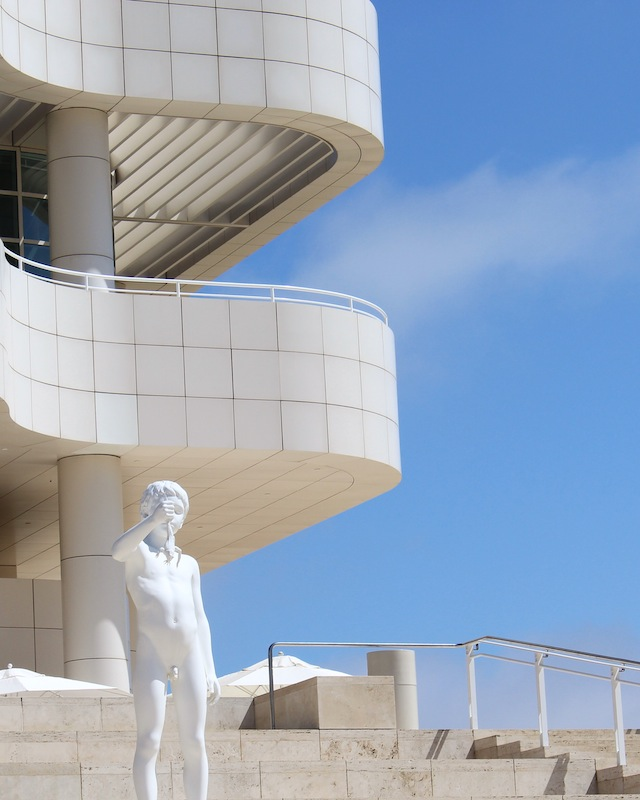 """""""Boy with Frog"""" by Charles Ray. On the front steps of the Getty Museum."""