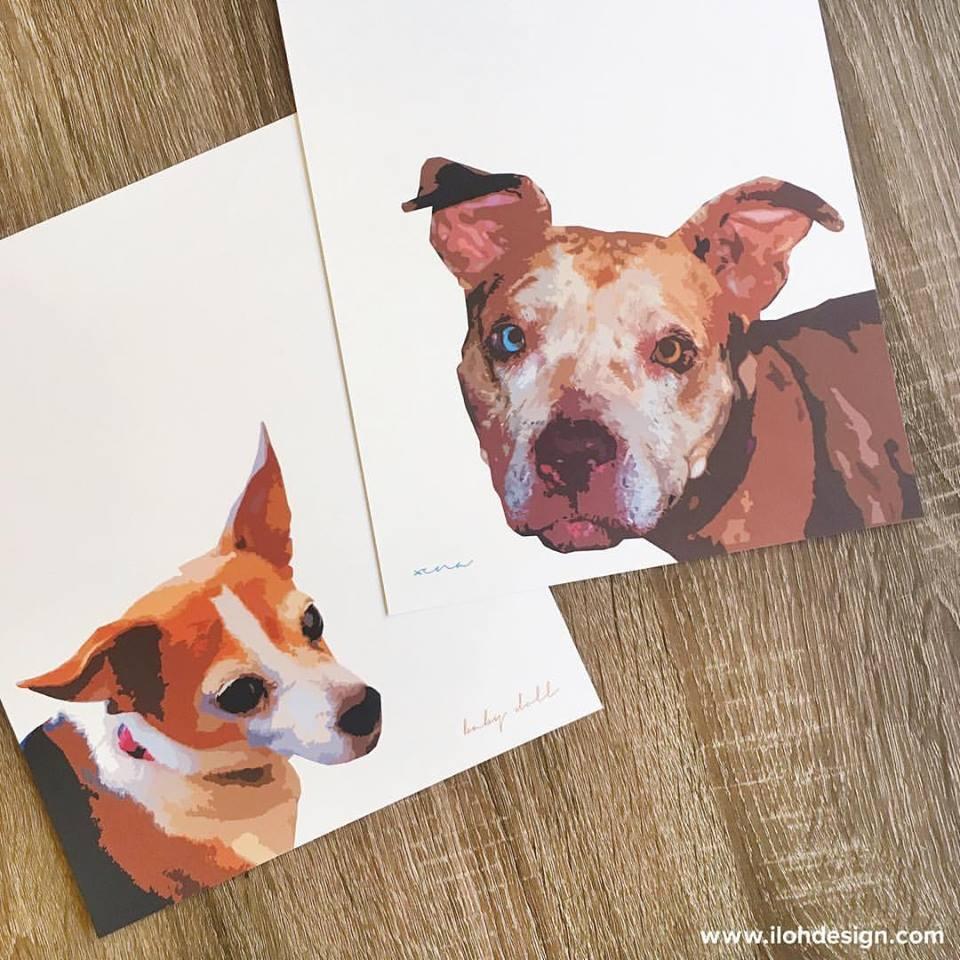 Dog portrait prints by Iloh Design