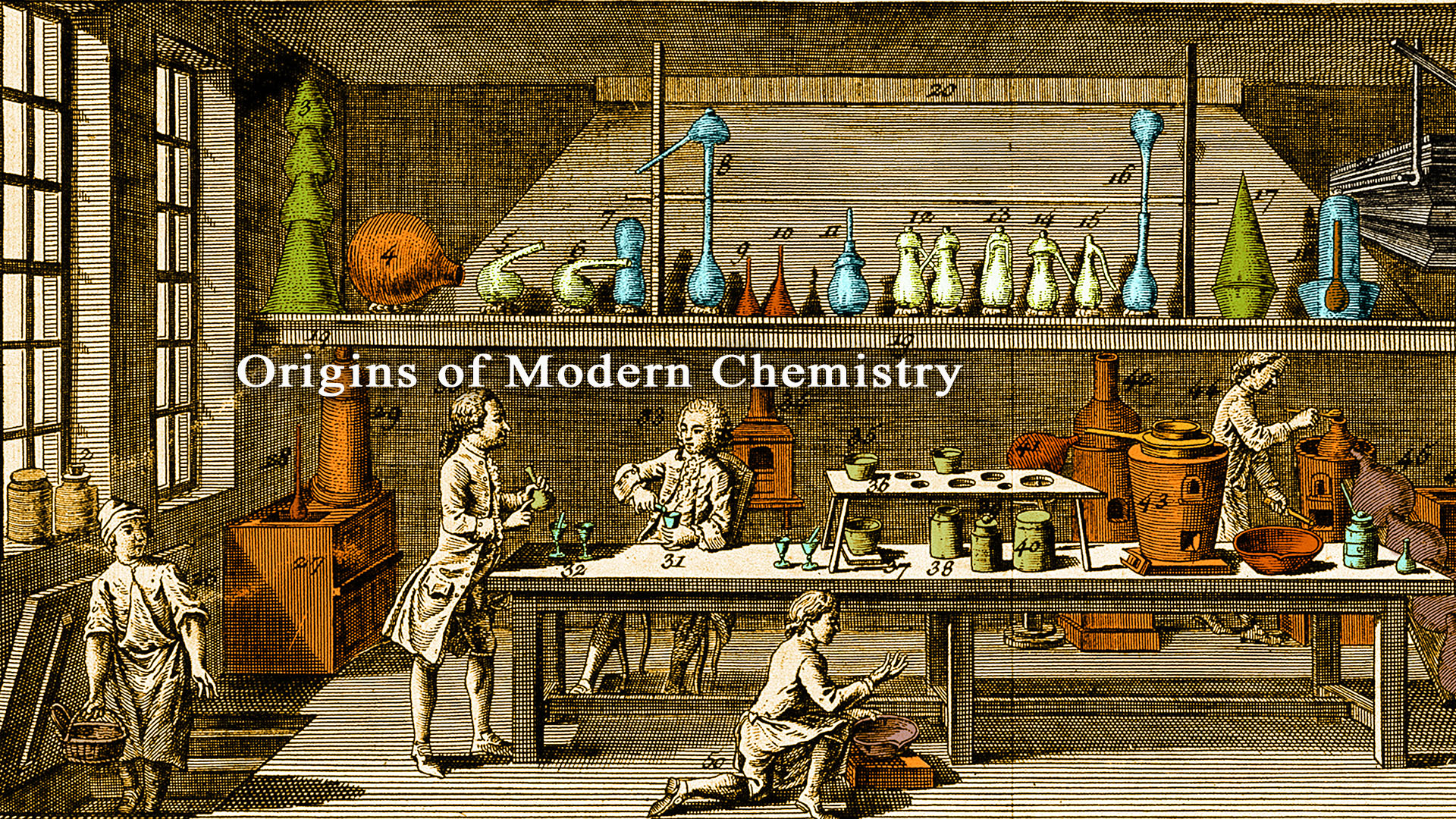 18th century chemical laboratory, Paris.