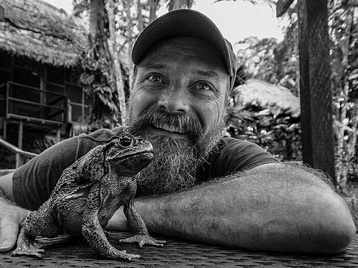 Fenolio with a toad, Amazonian Peru, September 2017, B & W.jpg