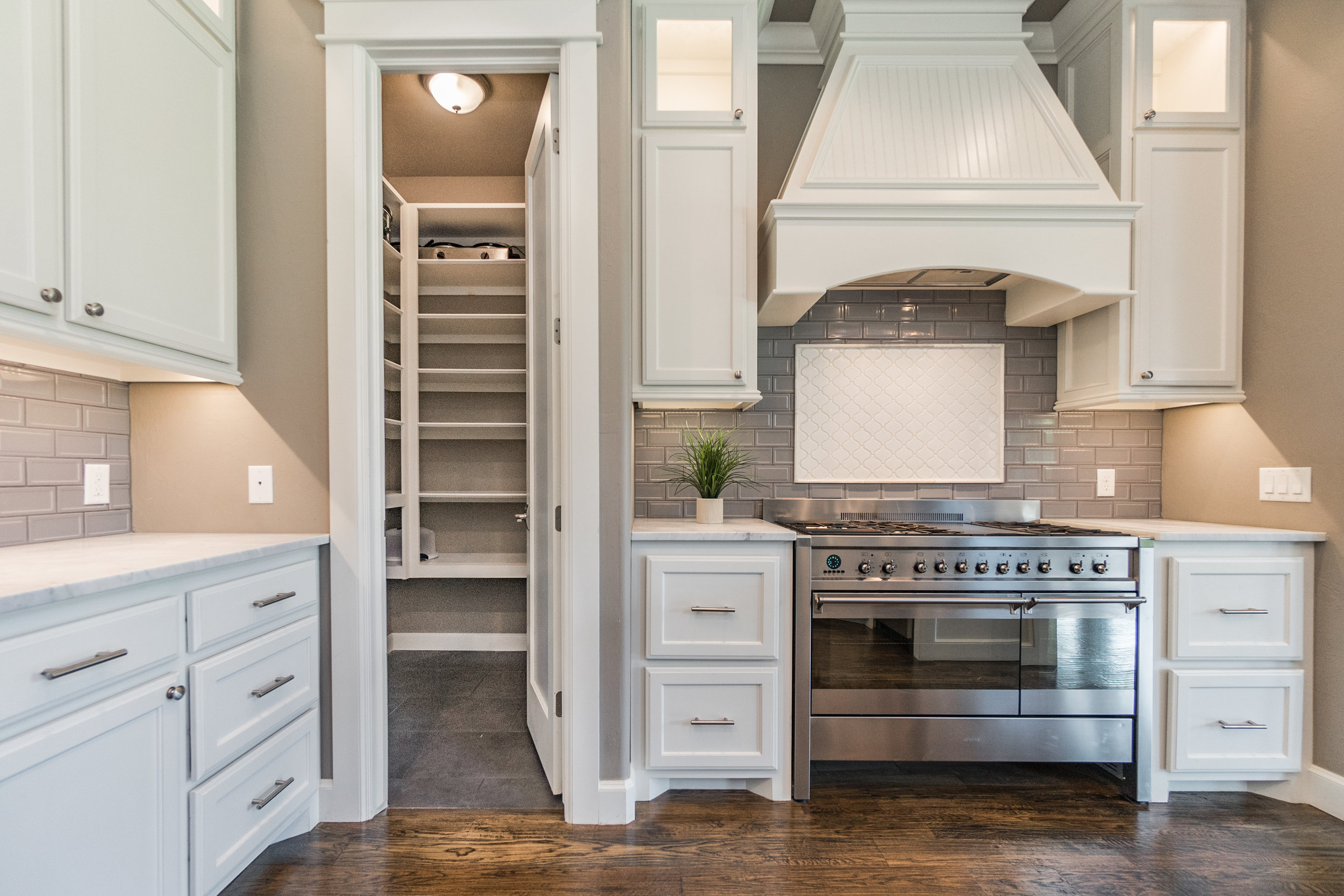 cook's dream gas stove and pantry view