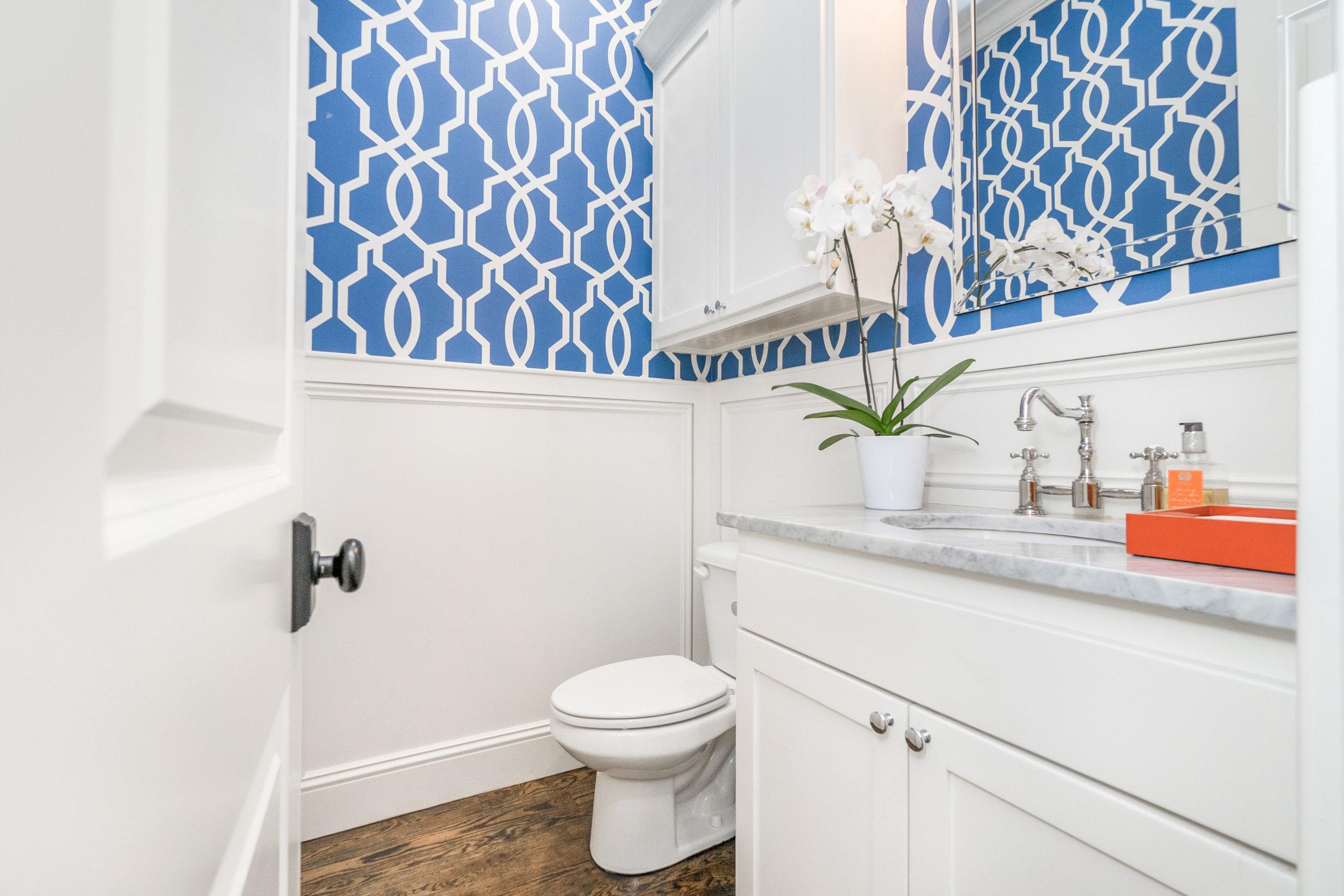 Elegant powder bathroom.